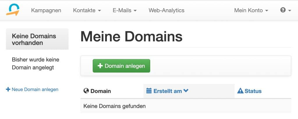 quentn web analytics domain anlegen