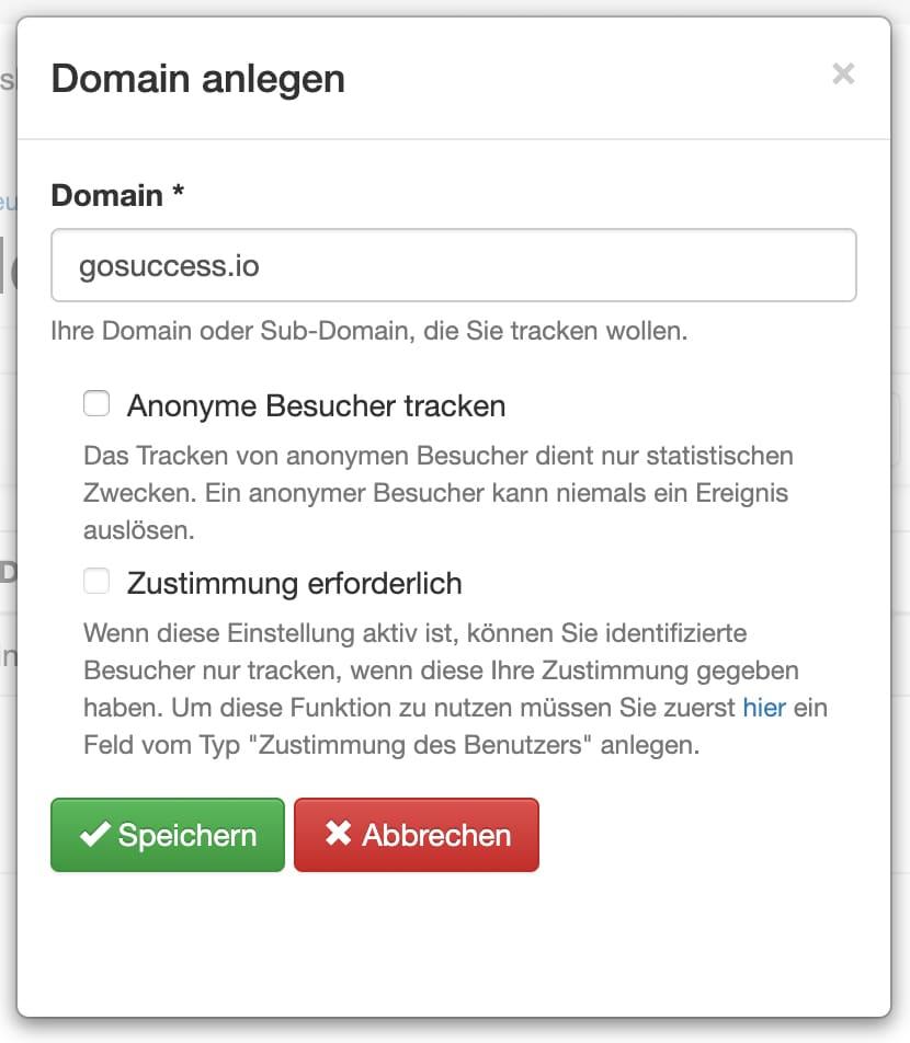 quentn web analytics domain anlegen dialog
