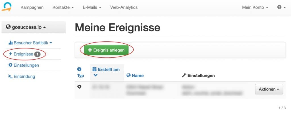 quentn web analytics ereignis anlegen