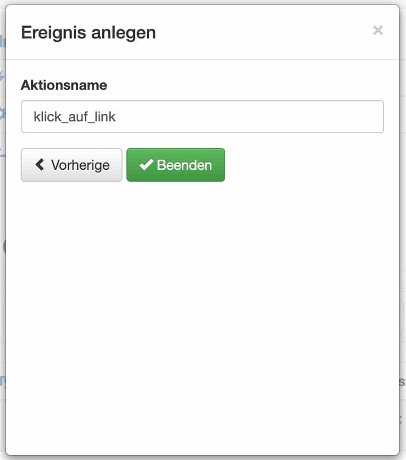 quentn web analytics ereignis anlegen aktionsname